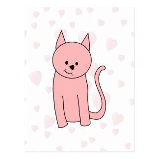 Cute Pretty Pink Cat Postcard
