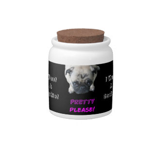 Cute Pretty Please Pug Candy/Cookie Jar Candy Dishes