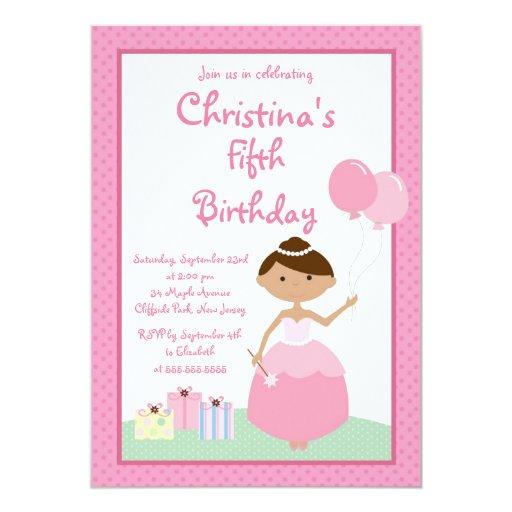 Cute Pretty Princess Birthday Party Invitations