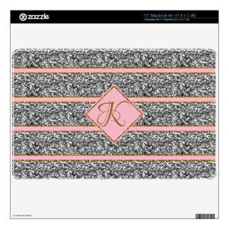 Cute Pretty Rose Silver Glitter Straps Monogrammed Skins For MacBook