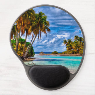 Cute Pretty Summer Hawaiian Beach Watercolor Gel Mouse Pad
