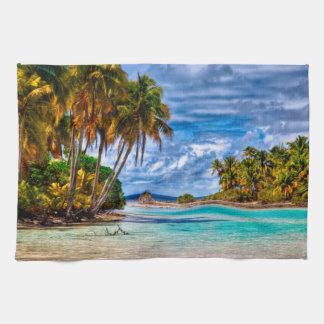 Cute Pretty Summer Hawaiian Beach Watercolor Kitchen Towels