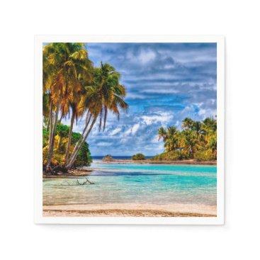 Hawaiian Themed Cute Pretty Summer Hawaiian Beach Watercolor Paper Napkin