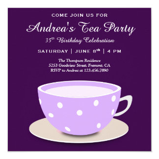 Cute Pretty Tea Cup | Purple Birthday Tea Party Card