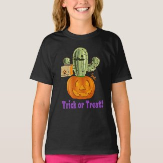 Cute Prickly Pear Halloween Trick or Treat Kids T-Shirt
