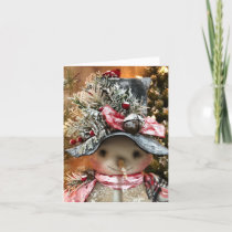 Cute Primitive Winter Snowman Card