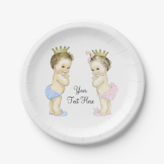 Cute Prince and Princess Boy and Girl Twin Baby 7 Inch Paper Plate