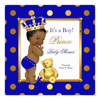 Cute Prince Baby Shower Boy Royal Blue Gold Ethnic Card