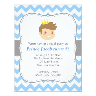 "Cute Prince Birthday Party, Blue and White Chevron 4.25"" X 5.5"" Invitation Card"