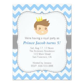 Cute Prince Birthday Party, Blue and White Chevron Invitation