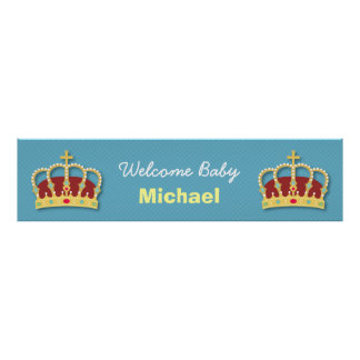 Cute Prince Boy Baby Shower Welcome Party Banner Poster