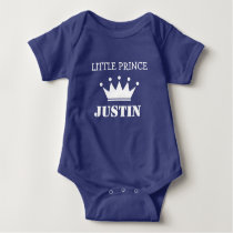 Cute prince crown one piece blue boy baby bodysuit