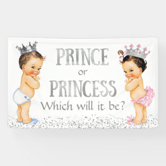 Cute Prince Princess Gender Reveal Baby Shower Banner