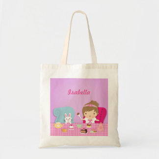 Cute Princess and Bunny Tea Party For Girls Tote Bag