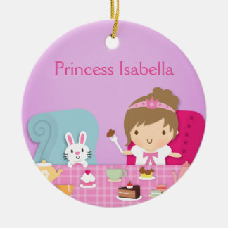 Cute Princess and Bunny Tea Party Girls Room Ceramic Ornament