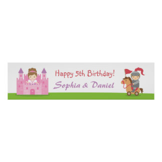 Cute Princess and Knight Birthday Party Banner Posters