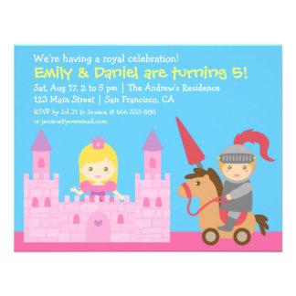 Cute Princess and Knight Birthday Party Personalized Announcement