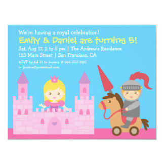 Cute Princess and Knight Birthday Party 4.25x5.5 Paper Invitation Card