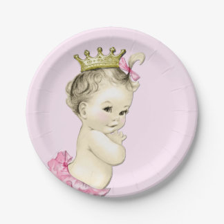 Cute Princess Baby Shower 7 Inch Paper Plate