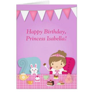 Cute Princess Bunny Tea Party Birthday Greeting Card
