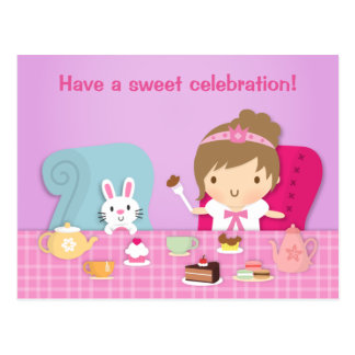 Cute Princess Bunny Tea Party Birthday Greeting Post Card