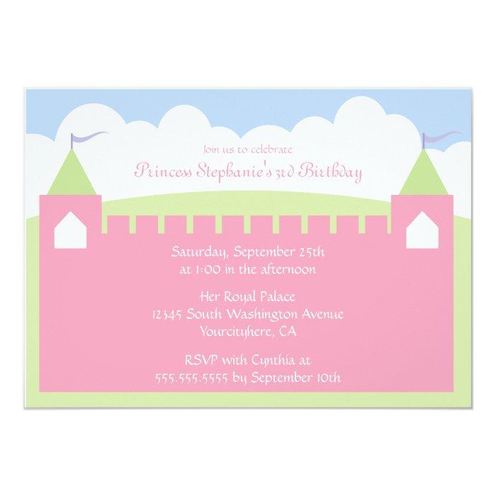 Cute princess castle birthday party invitation