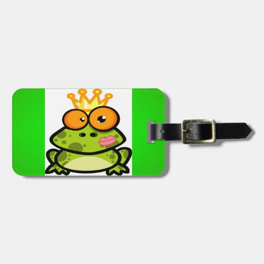 Cute Princess Frog with Golden Crown Bag Tag