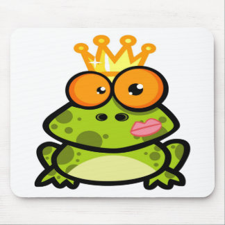 Cute Princess Frog with Golden Crown Mousepads
