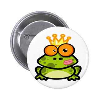 Cute Princess Frog with Golden Crown Pinback Button
