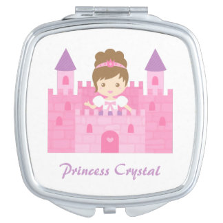 Cute Princess Girl in Pink Castle Compact Mirror
