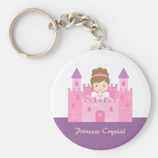 Cute Princess Girl in Pink Castle Fairytale Basic Round Button Keychain