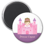 Cute Princess Girl in Pink Castle Fairytale 2 Inch Round Magnet