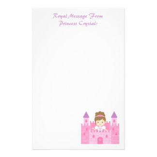 Cute Princess Girl in Pink Castle Stationery