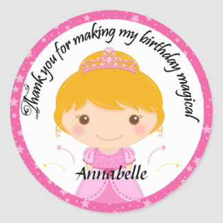 Cute Princess Party Thank You Round Stickers