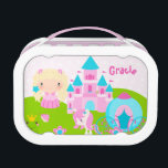 """Cute Princess Personalized Lunch Box<br><div class=""""desc"""">Custom,  cute,  lunch box in a cute princess theme. &quot;Customize&quot; your own cute puzzle! You can edit the text to add your child&#39;s name,  be unique and add a phrase or delete the text for a plain look. What a fun and unique gift idea!</div>"""