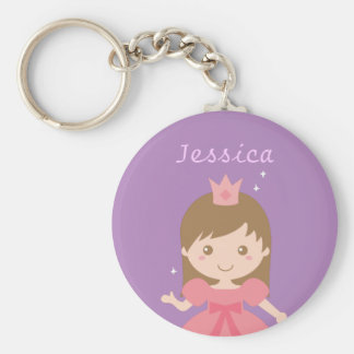 Cute Princess, Pink for Little Girls Basic Round Button Keychain