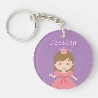 Cute Princess, Pink for Little Girls Single-Sided Round Acrylic Keychain