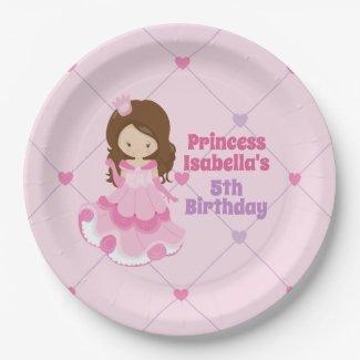 Cute Princess Pink Purple Girls Birthday Party Paper Plate