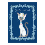 Cute Princess Siamese Kitty Cat Birthday Party 5x7 Paper Invitation Card
