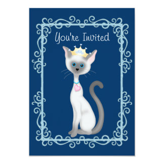 Cute Princess Siamese Kitty Cat Birthday Party 5x7 Paper Invitation Card