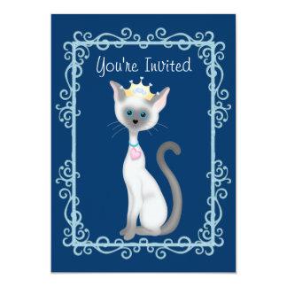 Cute Princess Siamese Kitty Cat Birthday Party Card