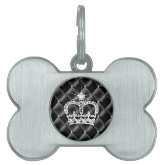 Cute Princess Tiara Tufted Diamond Satin Pet Name Tag