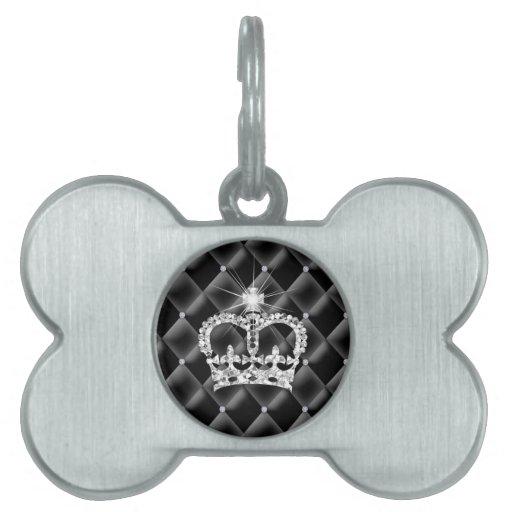 Cute Princess Tiara Tufted Diamond Satin Pet Name Tags