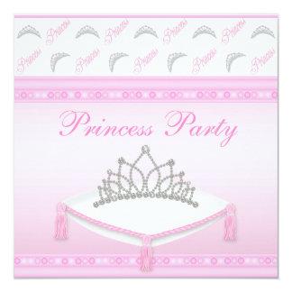 Cute Princess Tiaras Pink Birthday Party 5.25x5.25 Square Paper Invitation Card