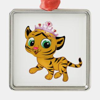 Cute Princess Tiger Tigress Tiara Gift Present Metal Ornament