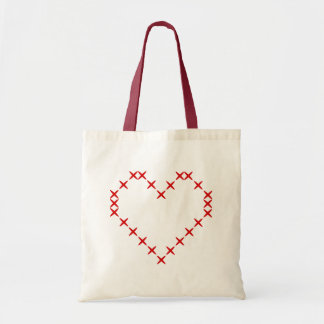 Cute printed red cross stitch heart tote bag