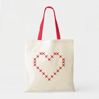 Cute printed red cross stitch heart tote bag