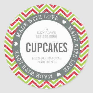 CUTE PRODUCT LABEL made with love chevron glitter