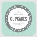 CUTE PRODUCT LABEL made with love chevron mint Square Sticker