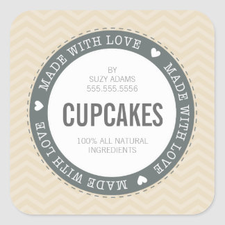 CUTE PRODUCT LABEL made with love chevron natural Square Sticker